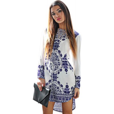 Jewel Collar Long Sleeve Printed Women Mini Dress