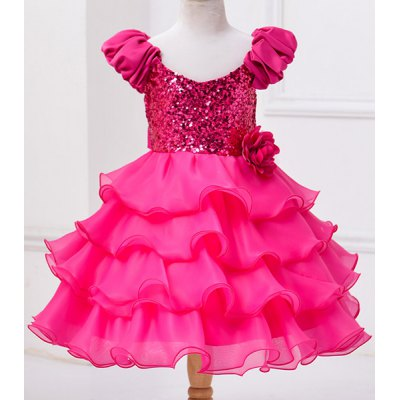 Fashionable Sleeveless Flower Spliced Sequins Embellish Multilayered Mini Ball Gown Dress For Girl