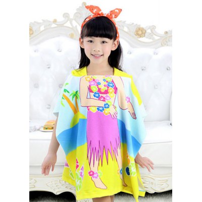 Cute Hooded Skirt Girl Pattern Loose-Fitting Cloak Cover Up
