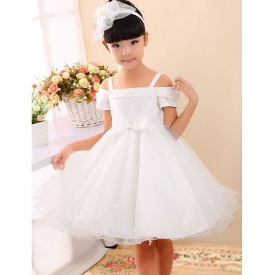 Fashionable Short Sleeve Bowknot Embellish Hollow Out Ball Gown Dress For Girl