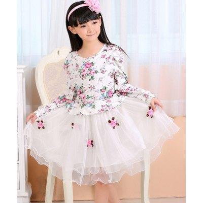 Long Sleeve Floral Print Spliced Girl's Ball Gown Dress