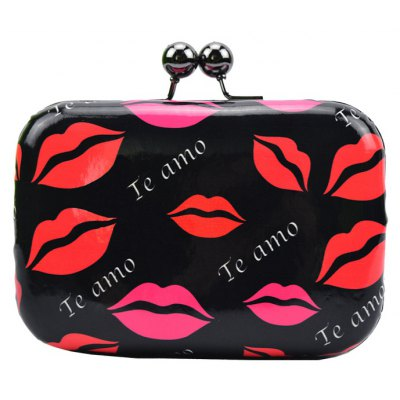 Stylish Sexy Lip Print and Kiss Lock Design Women's Evening Bag