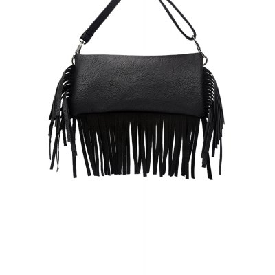 Concise Fringe and Solid Color Design Women's Crossbody Bag