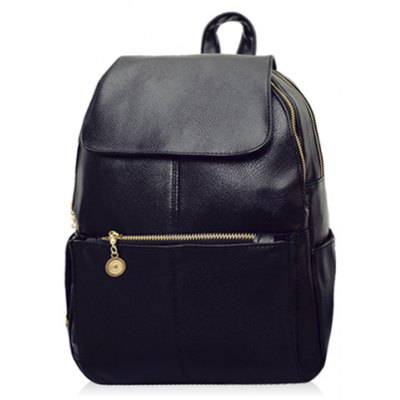Vintage Style PU Leather and Black Design Women's Backpack