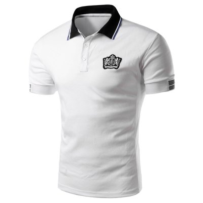 Turn Down Collar Solid Color Short Sleeve Polo T-Shirt