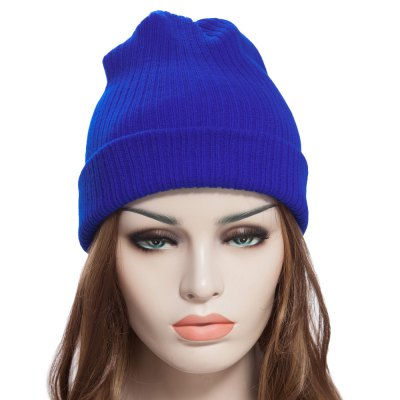 Pure Color Warm Soft Skullies Beanie Knit Cap