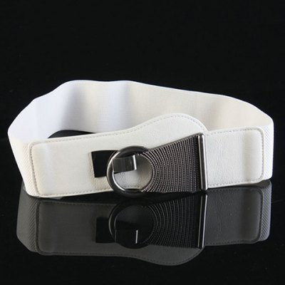 Chic Alloy Hasp Solid Color Elastic Waistband For Women
