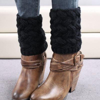 Pair of Chic Solid Color Weaving Knitted Boot Cuffs For Women