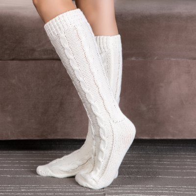 Pair of Chic Solid Color Hemp Flowers Knitted Stockings For Women