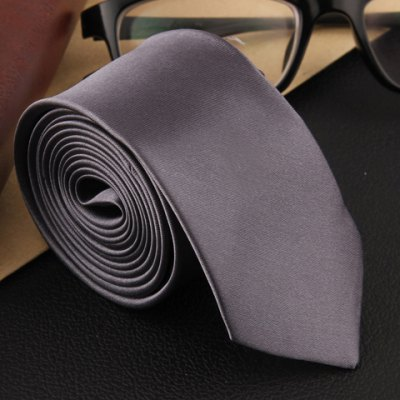 Stylish Solid Color 5.5 Width Satin Tie For Men