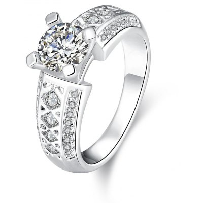 R404-C-8 High Quality Nickle Free Antiallergic New Fashion Jewelry White Plated Zircon Ring