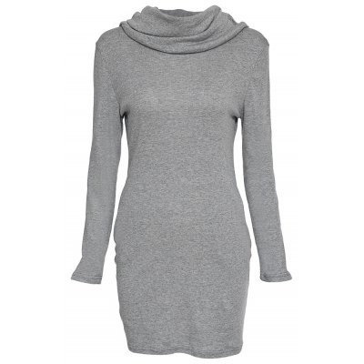 Casual Hooded Long Sleeve Pure Color Bodycon Ladies Dress