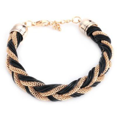 Han Edition Metal Chain Multilevel Knitted Ladies Bracelet
