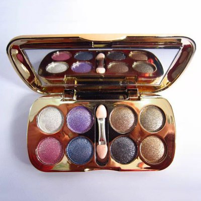 Practical 8 Colours Diamond Eyeshadow Palette with Mirror and Brush
