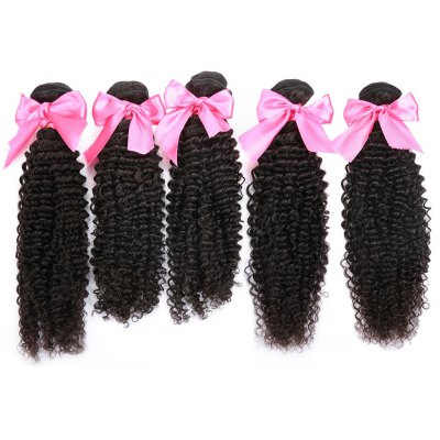 5pcs Indian Remy Kinky Curly Human Hair Weave Extension