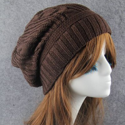Hemp Flowers Stripy Knitted Beanie For Women
