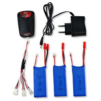 3 x 7.4V 2000mAh Battery + Charger with Cable / Power Adapter Set
