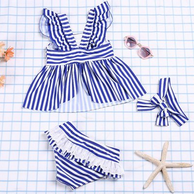 Cute Square Neck Striped Color Block Top + Flounced Briefs Girl's Two Piece Swimsuit
