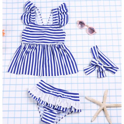Square Neck Striped Color Block Top + Flounced Briefs Girl's Two Piece Swimsuit