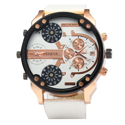 Geneva 409 Date Function Male Four Movt Quartz WatchMens Watches<br>Geneva 409 Date Function Male Four Movt Quartz Watch<br><br>Available Color: Black,Black and white,Blue,Brown,Gold and Black,Orange,Red,White<br>Band material: PU<br>Brand: Geneva<br>Case material: Stainless Steel<br>Clasp type: Pin buckle<br>Display type: Analog<br>Movement type: Multiple Movements<br>Package Contents: 1 x Geneva 409 Watch, 1 x Box<br>Package size (L x W x H): 10.00 x 7.50 x 7.00 cm / 3.94 x 2.95 x 2.76 inches<br>Package weight: 0.1990 kg<br>Product size (L x W x H): 27.50 x 5.50 x 1.50 cm / 10.83 x 2.17 x 0.59 inches<br>Product weight: 0.1040 kg<br>Shape of the dial: Round<br>Special features: Date, Decorating small sub-dials<br>Style elements: Big dial<br>The band width: 2.3 cm / 0.91 inches<br>The dial diameter: 5.5 cm / 2.16 inches<br>The dial thickness: 1.5 cm / 0.59 inches<br>Watch style: Fashion<br>Watches categories: Male table<br>Wearable length: 18 - 22.5 cm / 7.09 - 8.86 inches