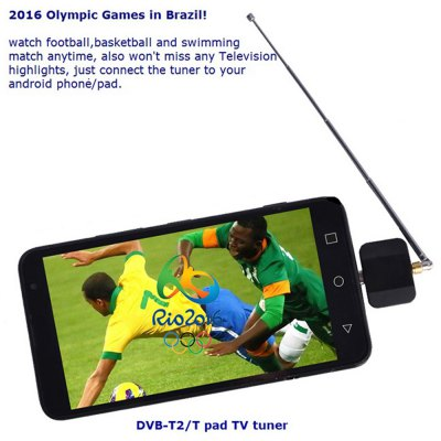 DVB-T2 Satellite TV HDTV ReceiverTV Box &amp; Mini PC<br>DVB-T2 Satellite TV HDTV Receiver<br><br>Color: Black<br>Interface: Micro USB<br>Model: DVB-T2<br>Package Contents: 1 x DVB-T2 HDTV Receiver, 1 x Antenna, 1 x Antenna Extender, 1 x Suction Cup, 1 x Clip, 1 x English Manual<br>Package size (L x W x H): 11.20 x 9.00 x 4.20 cm / 4.41 x 3.54 x 1.65 inches<br>Package weight: 0.1250 kg<br>Power Supply: USB Port<br>Product size (L x W x H): 7.50 x 3.20 x 3.20 cm / 2.95 x 1.26 x 1.26 inches<br>Product weight: 0.0650 kg<br>Type: TV Receiver