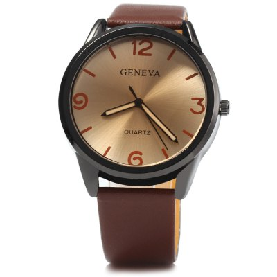 Geneva Leather Strap Men Quartz WatchMens Watches<br>Geneva Leather Strap Men Quartz Watch<br><br>Band material: Leather<br>Brand: Geneva<br>Case material: Stainless Steel<br>Clasp type: Pin buckle<br>Display type: Analog<br>Movement type: Quartz watch<br>Package Contents: 1 x Geneva Watch<br>Package size (L x W x H): 25.00 x 5.00 x 2.00 cm / 9.84 x 1.97 x 0.79 inches<br>Package weight: 0.090 kg<br>Product size (L x W x H): 24.00 x 4.00 x 1.00 cm / 9.45 x 1.57 x 0.39 inches<br>Product weight: 0.040 kg<br>Shape of the dial: Round<br>The band width: 2.0 cm / 0.79 inches<br>The dial diameter: 4.0 cm / 1.57 inches<br>The dial thickness: 1.0 cm / 0.39 inches<br>Watch style: Fashion<br>Watches categories: Male table<br>Wearable length: 16 - 21 cm / 6.3 - 8.27 inches