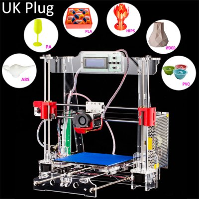 Tronxy Acrylic P802 - MTS 3D Printer3D Printers, 3D Printer Kits<br>Tronxy Acrylic P802 - MTS 3D Printer<br><br>Brand: Tronxy<br>File format: STL, OBJ, G-code<br>LCD Screen: Yes<br>Material diameter: 1.75mm<br>Memory card offline print: SD card<br>Model: P802 - MTS<br>Nozzle diameter: 0.4mm<br>Nozzle quantity: Single<br>Nozzle temperature: 170-275 Degree<br>Package size: 50.00 x 40.00 x 43.00 cm / 19.69 x 15.75 x 16.93 inches<br>Package weight: 11.0500 kg<br>Packing Type: unassembled packing<br>Platform board: Aluminum Sheet<br>Platform temperature: Room temperature to 110 degree<br>Product size: 46.00 x 46.00 x 21.00 cm / 18.11 x 18.11 x 8.27 inches<br>Product weight: 9.4000 kg<br>XY-axis positioning accuracy: 0.012mm<br>Z-axis positioning accuracy: 0.004mm