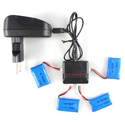 4 x 3.7V 200mAh Battery + Charger with Cable Set Fitting for Syma X11 Quadcopter