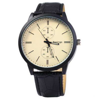 Rosivga 2222 Quartz Watch Decorative Sub-dials for MenMens Watches<br>Rosivga 2222 Quartz Watch Decorative Sub-dials for Men<br><br>Available Color: Black,White,Red,Blue,Green<br>Band material: Leather<br>Brand: Rosivga<br>Case material: Stainless Steel<br>Clasp type: Pin buckle<br>Display type: Analog<br>Movement type: Quartz watch<br>Package Contents: 1 x Rosivga 2222 Quartz Watch<br>Package size (L x W x H): 25 x 5.5 x 1.8 cm / 9.83 x 2.16 x 0.71 inches<br>Package weight: 0.093 kg<br>Product size (L x W x H): 24 x 4.5 x 0.8 cm / 9.43 x 1.77 x 0.31 inches<br>Product weight: 0.043 kg<br>Shape of the dial: Round<br>Special features: Decorating small sub-dials<br>Style elements: Stainless Steel<br>The band width: 1.8 cm / 0.71inches<br>The dial diameter: 4.5 cm / 1.77 inches<br>The dial thickness: 0.8 cm / 0.31 inches<br>Watch style: Fashion<br>Watches categories: Male table<br>Wearable length: 17 - 21 cm / 6.69 - 8.27 inches