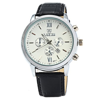 Valia 8601-1 Men Quartz Watch with Date FunctionMens Watches<br>Valia 8601-1 Men Quartz Watch with Date Function<br><br>Available Color: Black,White,Brown<br>Band material: Leather<br>Brand: Valia<br>Case material: Stainless Steel<br>Clasp type: Pin buckle<br>Display type: Analog<br>Movement type: Quartz watch<br>Package Contents: 1 x Valia 8601-1 Watch<br>Package size (L x W x H): 25.5 x 5.3 x 2 cm / 10.02 x 2.08 x 0.79 inches<br>Package weight: 0.111 kg<br>Product size (L x W x H): 24.5 x 4.3 x 1 cm / 9.63 x 1.69 x 0.39 inches<br>Product weight: 0.061 kg<br>Shape of the dial: Round<br>Special features: Date, Decorating small sub-dials<br>The band width: 2.0 cm / 0.79 inches<br>The dial diameter: 4.3 cm / 1.69 inches<br>The dial thickness: 1.0 cm / 0.39 inches<br>Watch style: Business<br>Watches categories: Male table<br>Wearable length: 18 - 22.5 cm / 7.09 - 8.86 inches