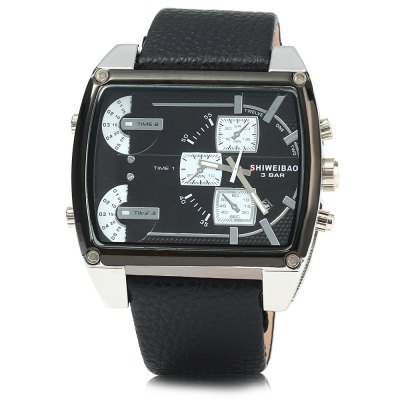 Shiweibao J1132 Male Quartz Watch with Date FunctionMens Watches<br>Shiweibao J1132 Male Quartz Watch with Date Function<br><br>Available Color: Black,White,Brown,Yellow<br>Band material: Leather<br>Brand: Shiweibao<br>Case material: Stainless Steel<br>Clasp type: Pin buckle<br>Display type: Analog<br>Movement type: Quartz watch<br>Package Contents: 1 x Shiweibao J1132 Watch<br>Package size (L x W x H): 23 x 6 x 2.1 cm / 9.04 x 2.36 x 0.83 inches<br>Package weight: 0.138 kg<br>Product size (L x W x H): 22 x 5 x 1.1 cm / 8.65 x 1.97 x 0.43 inches<br>Product weight: 0.088 kg<br>Shape of the dial: Rectangle<br>Special features: Decorating small sub-dials, Date<br>The band width: 2.5 cm / 0.98 inches<br>The dial diameter: 5.0 cm / 1.97 inches<br>The dial thickness: 1.1 cm / 0.43 inches<br>Watch style: Casual<br>Watches categories: Male table<br>Water resistance : 30 meters<br>Wearable length: 18 - 22.5 cm / 7.09 - 8.86 inches
