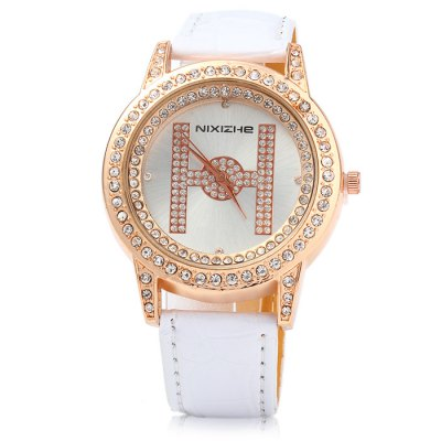 NIXIZHE H Pattern Female Diamond Quartz WatchWomens Watches<br>NIXIZHE H Pattern Female Diamond Quartz Watch<br><br>Available Color: Black,White,Red,Blue,Plum<br>Band material: Leather<br>Brand: NIXIZHE<br>Case material: Stainless Steel<br>Clasp type: Pin buckle<br>Display type: Analog<br>Movement type: Quartz watch<br>Package Contents: 1 x NIXIZHE Watch<br>Package size (L x W x H): 25 x 5 x 2 cm / 9.83 x 1.97 x 0.79 inches<br>Package weight: 0.093 kg<br>Product size (L x W x H): 24 x 4 x 1 cm / 9.43 x 1.57 x 0.39 inches<br>Product weight: 0.043 kg<br>Shape of the dial: Round<br>Style: Fashion&amp;Casual<br>The band width: 1.6 cm / 0.63 inches<br>The dial diameter: 4.0 cm / 1.57 inches<br>The dial thickness: 1.0 cm / 0.39 inches<br>Watches categories: Female table<br>Wearable length: 17 - 21 cm / 6.69 - 8.27 inches