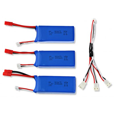 Spare Battery Charging Set 3 x 7.4V 2000mAh LiPo + Charging Cable for SYMA X8C X8W Quadcopter
