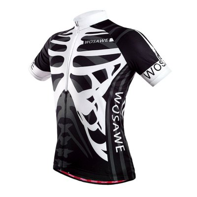 WOSAWE BC262 Men Quick Dry Skeleton Cycling JerseysCycling Clothings<br>WOSAWE BC262 Men Quick Dry Skeleton Cycling Jerseys<br><br>Brand: WOSAWE<br>Color: White and Black<br>Feature: Breathable, Quick Dry, High elasticity, Perspiration resistant<br>Material: Polyester<br>Package Contents: 1 x WOSAWE BC262 Cycling T-shirt<br>Package size (L x W x H): 30 x 22 x 3 cm / 11.79 x 8.65 x 1.18 inches<br>Package weight: 0.41 kg<br>Product weight: 0.210 kg<br>Size: M,L,XL,XXL<br>Suitable Crowds: Men<br>Type: Short sleeve Tops