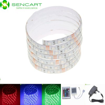 Sencart 5M 75W 300 SMD 5050 RGB LED Light Strip PackLED Strips<br>Sencart 5M 75W 300 SMD 5050 RGB LED Light Strip Pack<br><br>Actual Lumens: 3600LM<br>Brand: Sencart<br>Chip Brand: Epistar<br>Connector Type: UK plug<br>Features: IP-68, Waterproof, Remote Control, Cuttable<br>Input Voltage: AC100-240<br>LED Type: SMD-5050<br>Length: 5m<br>Material: FPC<br>Number of LEDs: 60 x SMD 5050 / M<br>Optional Light Color: RGB<br>Output Voltage: 12V<br>Package Contents: 1 x Sencart RGB LED Strip Light, 1 x Remote Controller (CR2025 Battery Included), 1 x Controller Box, 1 x UK Plug AC Adapter<br>Package size (L x W x H): 12 x 4 x 4 cm / 4.72 x 1.57 x 1.57 inches<br>Package weight: 0.190 kg<br>Product size (L x W x H): 500 x 1 x 0.3 cm / 196.50 x 0.39 x 0.12 inches<br>Product weight: 0.165 kg<br>Rated Current (A): 2A<br>Theoretical Lumens: 4800LM<br>Type: LED Strip