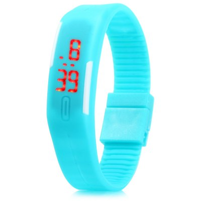 Red Digital LED Watch with Rubber Band Date Display