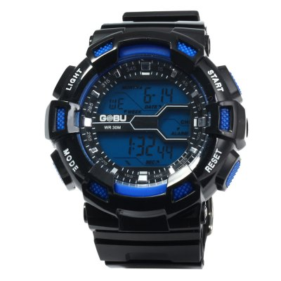 Gobu 1520 Multifunctional Men LED Sports WatchSports Watches<br>Gobu 1520 Multifunctional Men LED Sports Watch<br><br>Available Color: Red,Blue,Green,Orange,Yellow<br>Band material: Rubber<br>Brand: Gobu<br>Case material: PC<br>Clasp type: Pin buckle<br>Display type: Digital<br>Hour formats: 24 Hour<br>Movement type: Digital watch<br>Package Contents: 1 x Gobu 1520 Watch<br>Package size (L x W x H): 26 x 6 x 2.5 cm / 10.22 x 2.36 x 0.98 inches<br>Package weight: 0.121 kg<br>People: Male table<br>Product size (L x W x H): 25 x 5 x 1.5 cm / 9.83 x 1.97 x 0.59 inches<br>Product weight: 0.071 kg<br>Special features: Stopwatch, Date, Day, EL Back-light, Alarm Clock<br>The band width: 2.0 cm / 0.79 inches<br>The dial diameter: 5.0 cm / 1.97 inches<br>The dial thickness: 1.5 cm / 0.59 inches<br>Watch style: Outdoor Sports, LED<br>Water resistance : 30 meters