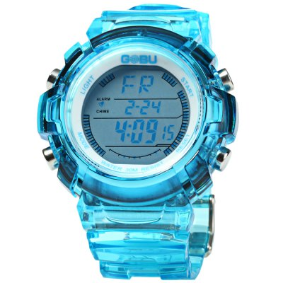 Gobu 1581 Transparent Body Men LED Sports WatchSports Watches<br>Gobu 1581 Transparent Body Men LED Sports Watch<br><br>Available Color: Black,White,Red,Blue,Green,Purple<br>Band material: Rubber<br>Brand: Gobu<br>Case material: PC<br>Clasp type: Pin buckle<br>Display type: Analog<br>Hour formats: 24 Hour<br>Movement type: Digital watch<br>Package Contents: 1 x Gobu 1581 Watch<br>Package size (L x W x H): 26 x 5.2 x 2.3 cm / 10.22 x 2.04 x 0.90 inches<br>Package weight: 0.113 kg<br>People: Male table<br>Product size (L x W x H): 25 x 4.2 x 1.3 cm / 9.83 x 1.65 x 0.51 inches<br>Product weight: 0.063 kg<br>Special features: Stopwatch, Date, Day, EL Back-light, Alarm Clock<br>The band width: 2.0 cm / 0.79 inches<br>The dial diameter: 4.2 cm / 1.65 inches<br>The dial thickness: 1.3 cm / 0.51 inches<br>Watch style: Outdoor Sports, LED<br>Water resistance : 30 meters