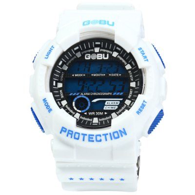 Gobu 1589 Double-breasted Rubber Strap Men LED Sports WatchSports Watches<br>Gobu 1589 Double-breasted Rubber Strap Men LED Sports Watch<br><br>Available Color: White,Red,Blue,Green,Yellow<br>Band material: Rubber<br>Brand: Gobu<br>Case material: PC<br>Clasp type: Pin buckle<br>Display type: Digital<br>Hour formats: 24 Hour<br>Movement type: Digital watch<br>Package Contents: 1 x Gobu 1589 Watch<br>Package size (L x W x H): 25 x 5.8 x 2.5 cm / 9.83 x 2.28 x 0.98 inches<br>Package weight: 0.107 kg<br>People: Male table<br>Product size (L x W x H): 24 x 4.8 x 1.5 cm / 9.43 x 1.89 x 0.59 inches<br>Product weight: 0.057 kg<br>Special features: Stopwatch, Date, Day, EL Back-light, Alarm Clock<br>The band width: 2.2 cm / 0.86 inches<br>The dial diameter: 4.8 cm / 1.89 inches<br>The dial thickness: 1.5 cm / 0.59 inches<br>Watch style: Outdoor Sports, LED<br>Water resistance : 30 meters