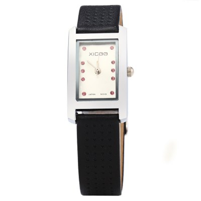 XICOO 450 Leather Band Diamond Women Quartz WatchWomens Watches<br>XICOO 450 Leather Band Diamond Women Quartz Watch<br><br>Available Color: White and Black,Black,White,Red,Brown<br>Band material: Leather<br>Brand: Xicoo<br>Case material: Stainless Steel<br>Clasp type: Pin buckle<br>Display type: Analog<br>Movement type: Quartz watch<br>Package Contents: 1 x XICOO 450 Watch<br>Package size (L x W x H): 22 x 2.5 x 1.6 cm / 8.65 x 0.98 x 0.63 inches<br>Package weight: 0.070 kg<br>Product size (L x W x H): 21 x 1.5 x 0.6 cm / 8.25 x 0.59 x 0.24 inches<br>Product weight: 0.020 kg<br>Shape of the dial: Round<br>Style: Fashion&amp;Casual<br>The band width: 0.6 cm / 0.24 inches<br>The dial diameter: 1.5 cm / 0.59 inches<br>The dial thickness: 0.6 cm / 0.24 inches<br>Watches categories: Female table<br>Wearable length: 15 - 20.5 cm / 5.9 - 8.07 inches