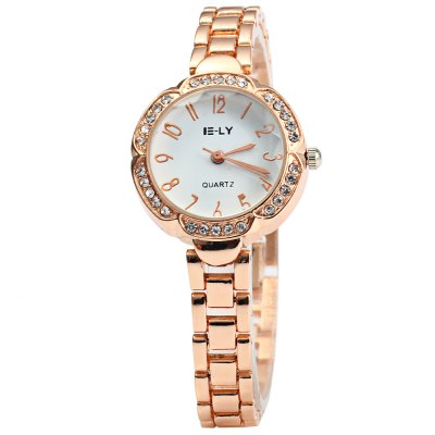 IE-LY Flower Dial Ladies Diamond Quartz WatchWomens Watches<br>IE-LY Flower Dial Ladies Diamond Quartz Watch<br><br>Available Color: Gold<br>Band material: Stainless Steel<br>Brand: IE-LY<br>Case material: Stainless Steel<br>Clasp type: Sheet folding clasp<br>Display type: Analog<br>Movement type: Quartz watch<br>Package Contents: 1 x IE-LY Watch<br>Package size (L x W x H): 22 x 3.7 x 1.6 cm / 8.65 x 1.45 x 0.63 inches<br>Package weight: 0.083 kg<br>Product size (L x W x H): 21 x 2.7 x 0.6 cm / 8.25 x 1.06 x 0.24 inches<br>Product weight: 0.033 kg<br>Shape of the dial: Petal Shaped<br>Style: Bracelet, Fashion&amp;Casual<br>The dial diameter: 2.7 cm / 1.06 inches<br>The dial thickness: 0.6 cm / 0.24 inches<br>Watches categories: Female table