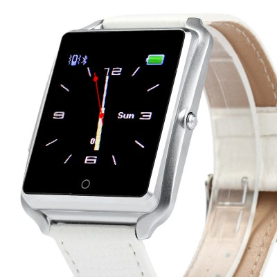 Bluboo Bluetooth U watch SmartwatchSmart Watches<br>Bluboo Bluetooth U watch Smartwatch<br><br>Alert type: Ring, Vibration<br>Anti-lost: Yes<br>Available Color: Black,Gold,Silver<br>Band material: Fluoroelastomer<br>Battery Capacity: 230mAh<br>Bluetooth calling: Answering,Call log sync,Dialing,Phone call reminder,Phonebook<br>Bluetooth Version: Bluetooth 4.0<br>Brand: BLUBOO<br>Built-in chip type: MTK 2501<br>Case material: Aluminium<br>Compatability: Android / iOS 5.0 and above system<br>Compatible OS: Android, IOS<br>Dial size: 5.1 x 3.8 x 1.0 cm / 2.0 x 1.5 x 0.39 inches<br>Find phone: Yes<br>Groups of alarm: 5 sets<br>Health tracker: Pedometer,Sedentary reminder,Sleep monitor<br>Language: Deutsch,English,French,Italian,Portuguese,Russian,Spanish<br>Locking screen : 4 kinds of clock interfaces<br>Messaging: Message checking,Message reminder<br>Notification: Yes<br>Other Functions: Alarm, Stopwatch<br>Package Contents: 1 x Bluboo U watch Smart Watch, 1 x USB Charging Cable, 1 x Chinese and English Manual<br>Package size (L x W x H): 12.50 x 8.00 x 6.00 cm / 4.92 x 3.15 x 2.36 inches<br>Package weight: 0.140 kg<br>People: Unisex watch<br>Product size (L x W x H): 25.00 x 3.80 x 1.00 cm / 9.84 x 1.5 x 0.39 inches<br>Product weight: 0.043 kg<br>Remote Control: Camera remote,Music remote<br>Screen: TFT<br>Screen resolution: 128 x 128 px<br>Screen size: 1.44 inch<br>Shape of the dial: Rectangle<br>Standby time: About 72 hours<br>The band width: 2.0 cm / 0.79 inches<br>Waterproof: Yes<br>Wearing diameter: 18 - 22.5 cm / 7.09 - 8.86 inches