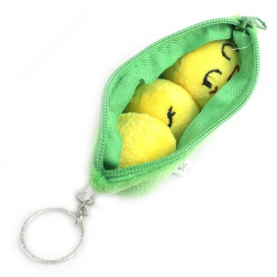 2 in 1 Plush Soybeans Pod Style Key Ring Wallet Combo