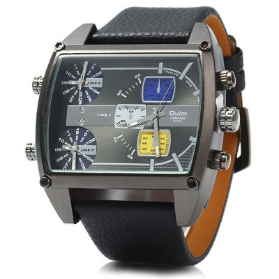 Oulm 3602 Three Movt Male Quartz Watch Leather Band