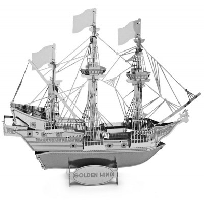 Golden Hind Pirate Ship 3D Metallic Puzzle Educational DIY Toy