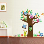 Owl Tree Sugar Design PVC Removable Wall Stickers