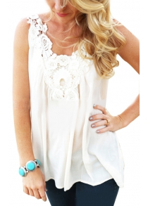 Refreshing Style U-Neck Sleeveless Lacework Pure Color Spliced Tank Top for Women
