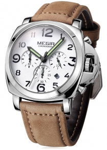 MEGIR 3778 Genuine Leather band Men Quartz Watch