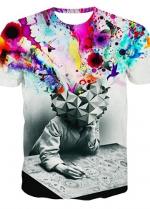 Round Neck 3D Watercolor Abstract Print Short Sleeve Men's T-Shirt