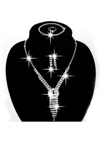 A Suit of Charming Hollow Out Necklace Ring Bracelet and Earrings For Women